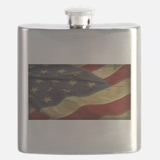 Distressed Vintage American Flag Flask