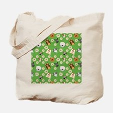 Dogs and Flowers on Green Background Tote Bag