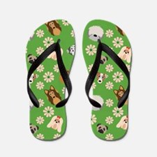 Dogs and Flowers on Green Background Flip Flops