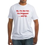 Not Fat - Pregnant - Red Fitted T-Shirt