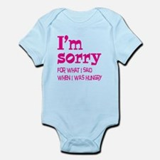 I'm Sorry Hungry Pink Infant Bodysuit