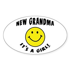 New Grandma It's A Girl Oval Decal