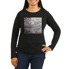 paris vinage scripts floral Long Sleeve T-Shirt