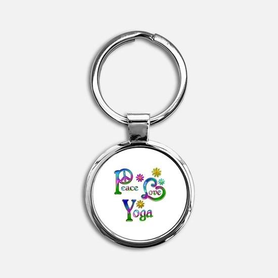 Peace Love Yoga Round Keychain