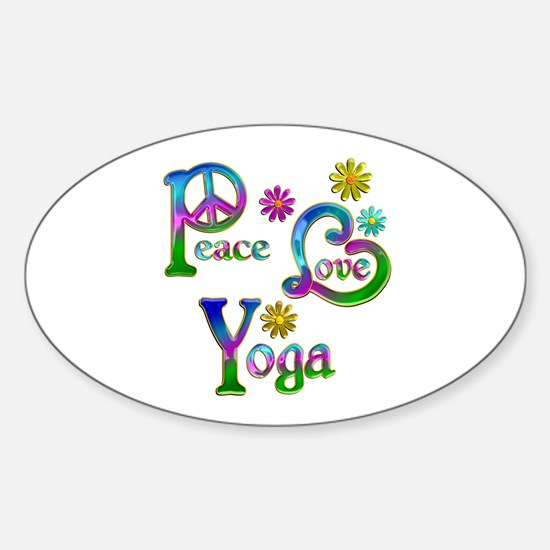 Peace Love Yoga Sticker (Oval)