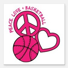 "PEACE, LOVE, B-BALL Square Car Magnet 3"" x 3"""