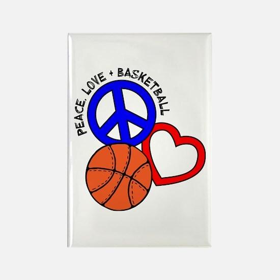 PEACE, LOVE, B-BALL Rectangle Magnet