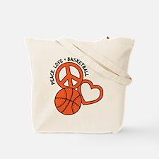 PEACE, LOVE, B-BALL Tote Bag