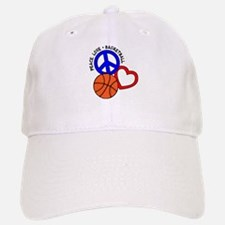 PEACE, LOVE, B-BALL Baseball Baseball Cap