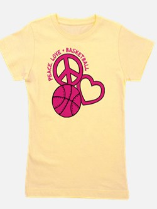 PEACE, LOVE, B-BALL Girl's Tee