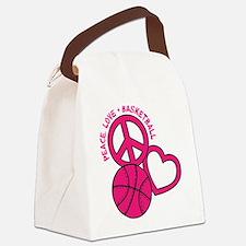 PEACE, LOVE, B-BALL Canvas Lunch Bag