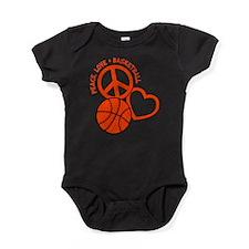 PEACE, LOVE, B-BALL Baby Bodysuit