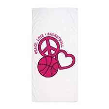 PEACE, LOVE, B-BALL Beach Towel
