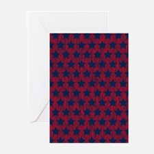 Red and Blue Stars Greeting Cards