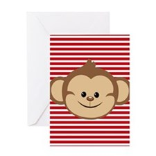 Cute Monkey on Red and White Stripes Greeting Card