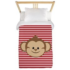 Cute Monkey on Red and White Stripes Twin Duvet