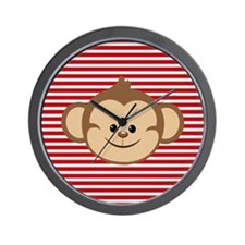 Cute Monkey on Red and White Stripes Wall Clock
