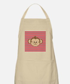 Cute Monkey on Red and White Stripes Apron