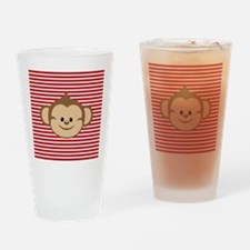 Cute Monkey on Red and White Stripes Drinking Glas