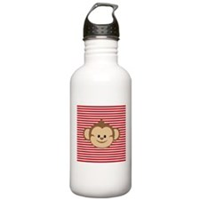 Cute Monkey on Red and White Stripes Water Bottle
