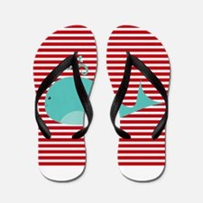 Whale on Red and White Stripes Flip Flops