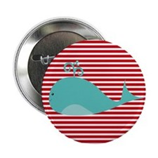 """Whale on Red and White Stripes 2.25"""" Button"""