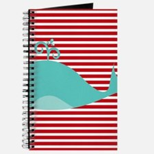 Whale on Red and White Stripes Journal