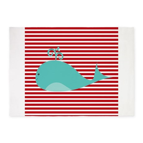 Whale on red and white stripes 5 39 x7 39 area rug by for Red and white striped area rug