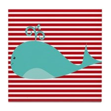 Whale on Red and White Stripes Tile Coaster