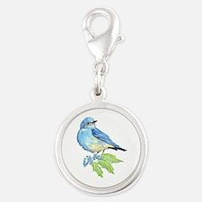 Watercolor Mountain Bluebird Bird nature Art Charm