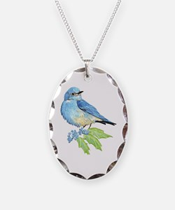 Watercolor Mountain Bluebird Bird nature Art Neckl