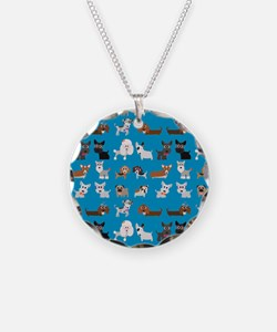 Dog Breeds on Blue Backgroun Necklace Circle Charm