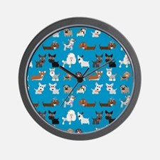 Dog Breeds on Blue Background Wall Clock