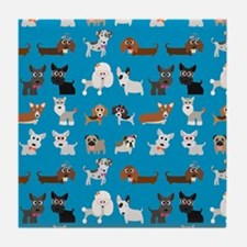 Dog Breeds on Blue Background Tile Coaster