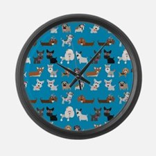 Dog Breeds on Blue Background Large Wall Clock