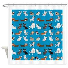 Dog Breeds on Blue Background Shower Curtain