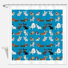 Dog Breeds on Blue Background Shower Curtain