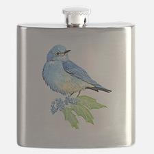 Watercolor Mountain Bluebird Bird nature Art Flask