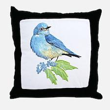 Watercolor Mountain Bluebird Bird nature Art Throw