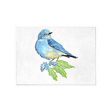 Watercolor Mountain Bluebird Bird nature Art 5'x7'