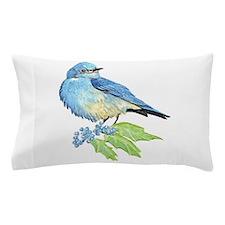 Watercolor Mountain Bluebird Bird nature Art Pillo