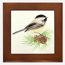 Chickadee Bird on Pine Branch Framed Tile