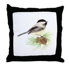 Chickadee Bird on Pine Branch Throw Pillow
