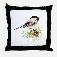 Chickadee Bird on Pine Branch Throw Pillow
