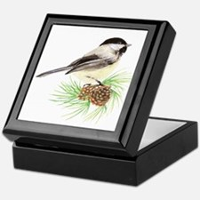 Chickadee Bird on Pine Branch Keepsake Box