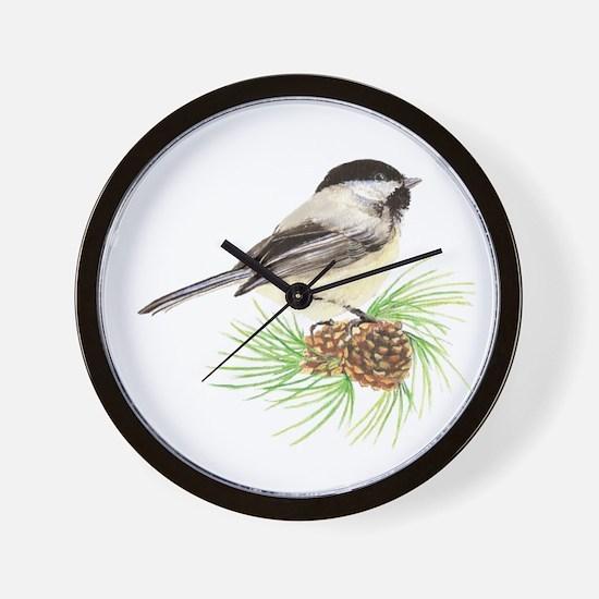Chickadee Bird on Pine Branch Wall Clock
