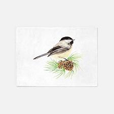 Chickadee Bird on Pine Branch 5'x7'Area Rug