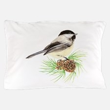 Chickadee Bird on Pine Branch Pillow Case