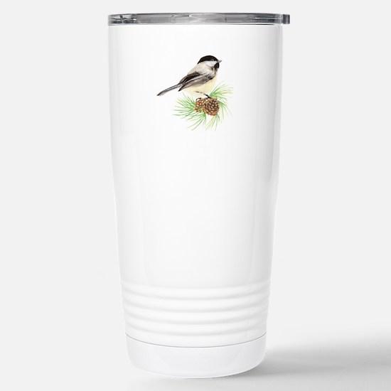 Chickadee Bird on Pine Branch Travel Mug