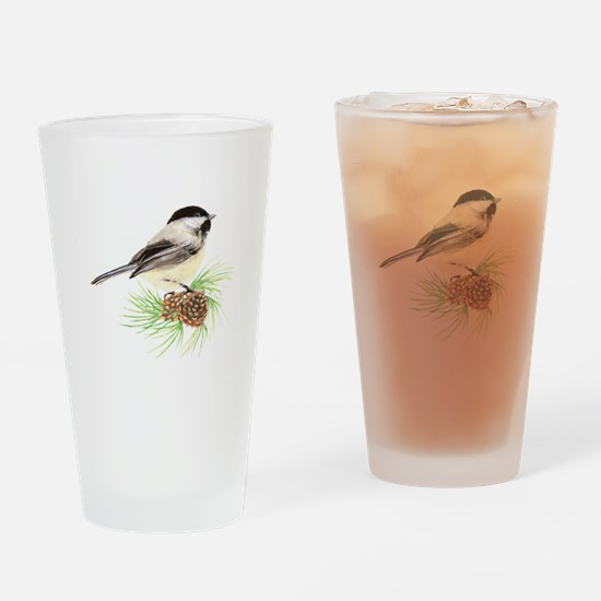 Chickadee Bird on Pine Branch Drinking Glass